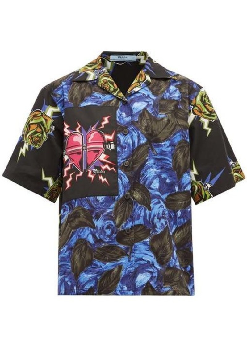 Prada Cuban-collar Frankenstein-print cotton shirt