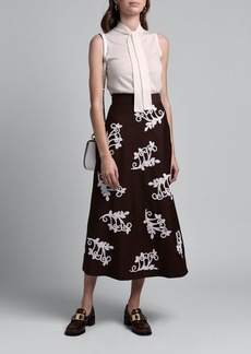 Prada Curly Flower Embroidered A-Line Skirt