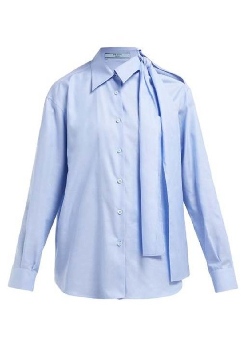 Prada Cut-out cotton-poplin shirt