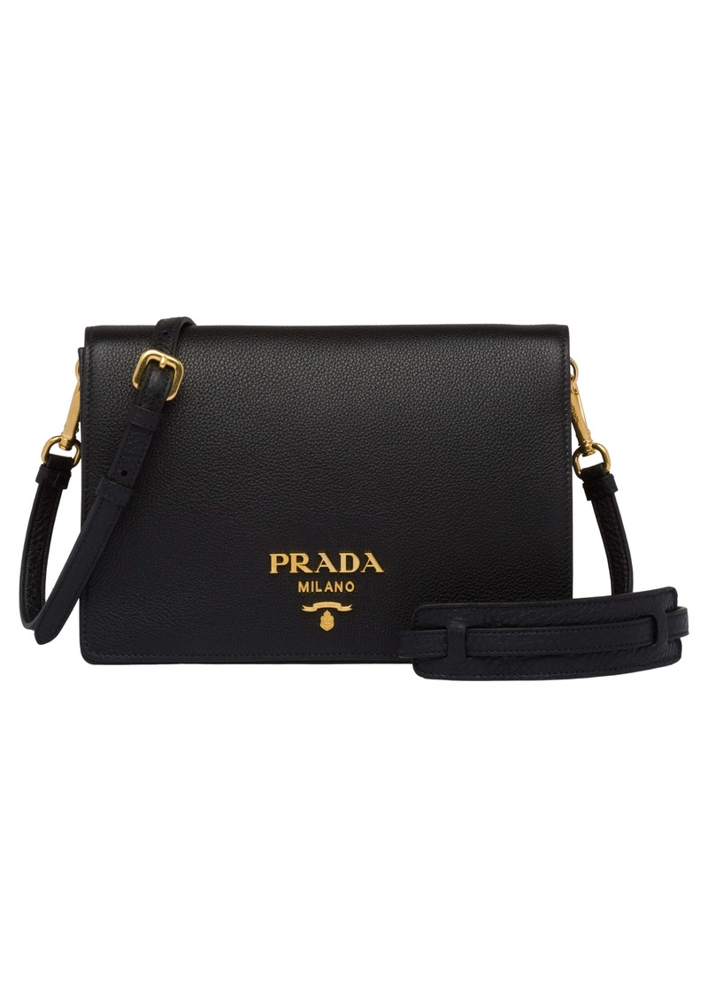 Prada Daino Leather Flap Crossbody Bag
