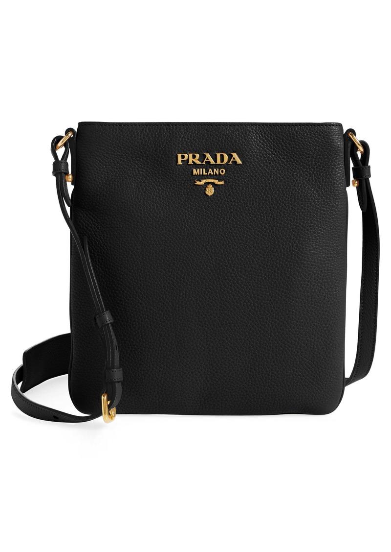 Prada Daino Leather Flat Crossbody Bag