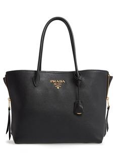 Prada Daino Side Zip Leather Shopper