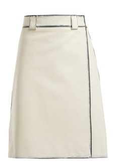 Prada Distressed leather A-line skirt