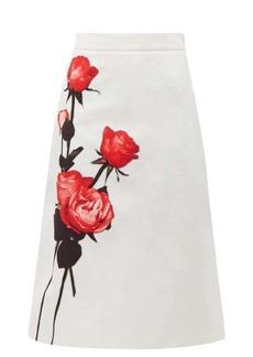 Prada Divisa A-line cotton midi skirt