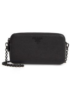 Prada Double Compartment Zip Saffiano Leather Crossbody Bag
