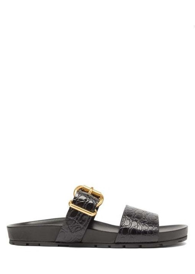 Prada Double strap crocodile-embossed leather sandals