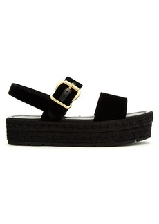Prada Double-strap velvet flatform sandals