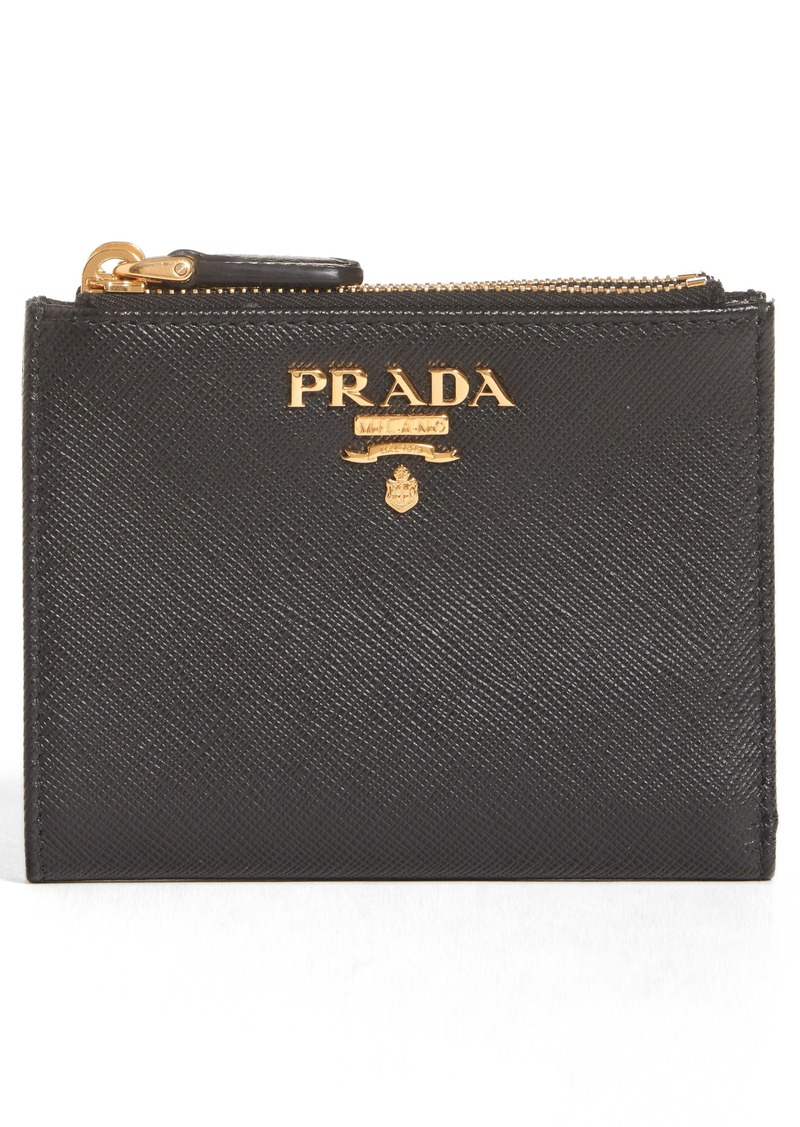 5f53699d0167 Prada Double Zip Saffiano Leather French Wallet