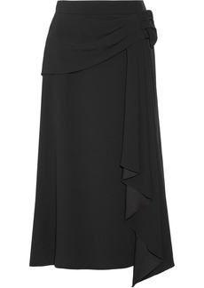 Prada Draped Crepe Midi Skirt
