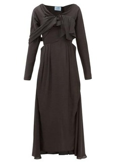 Prada Draped-front sateen midi dress