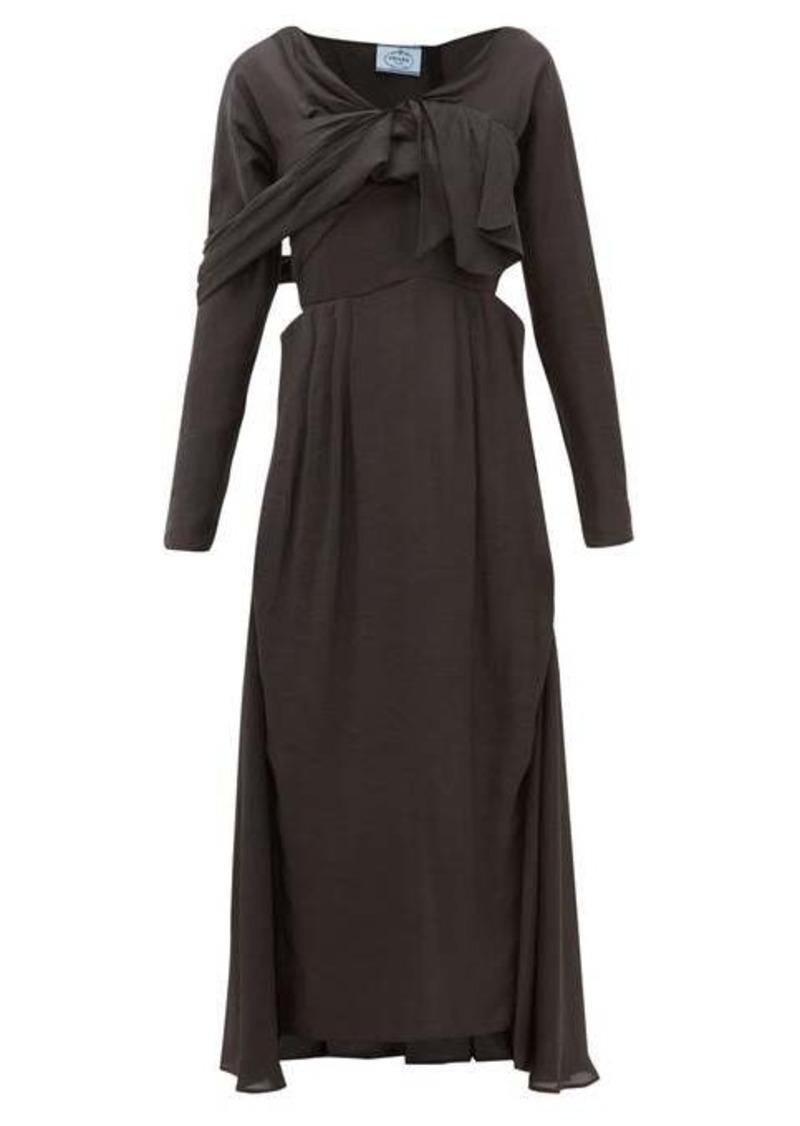 Prada Draped-front sateen midi dress