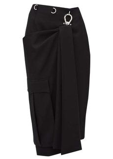 Prada Draped-panel tricotine pencil skirt