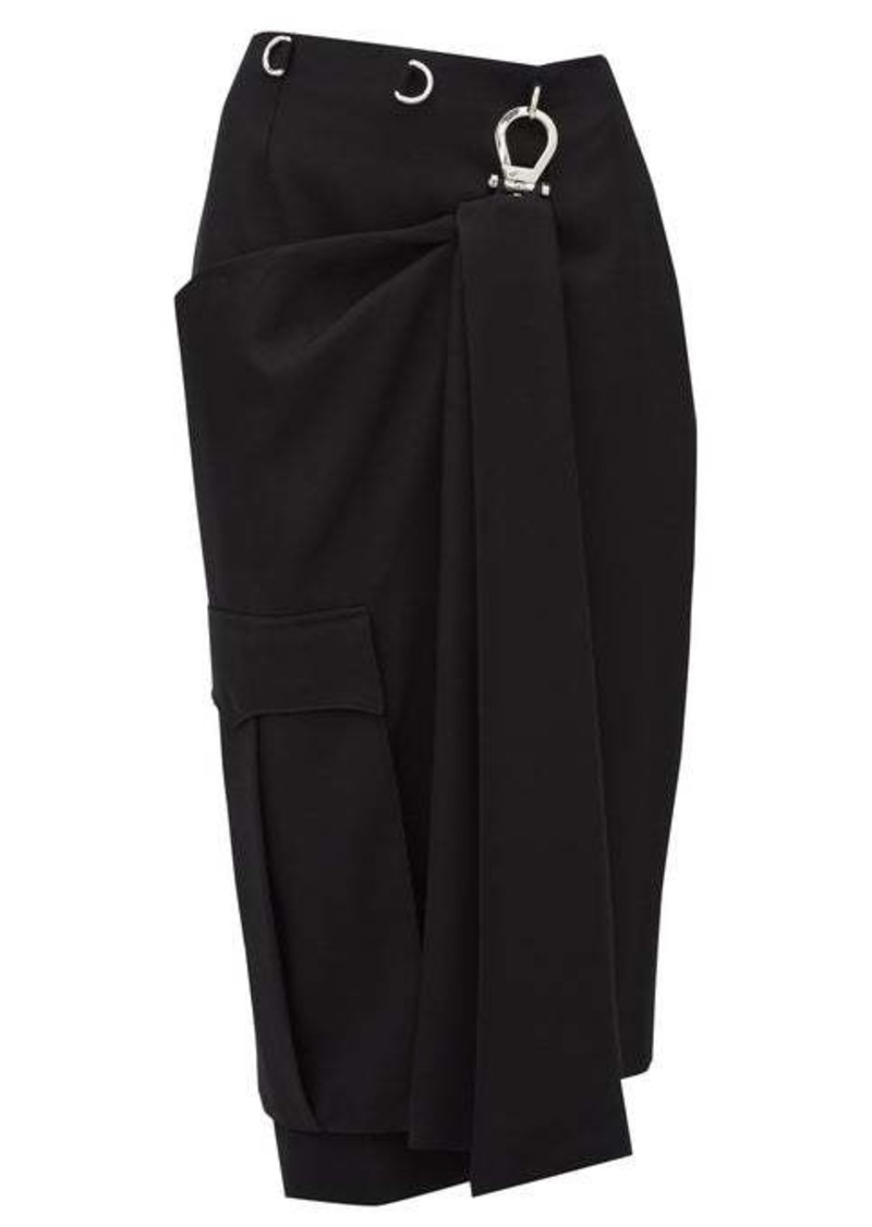 Prada Draped-panel tricotine pencil skirt
