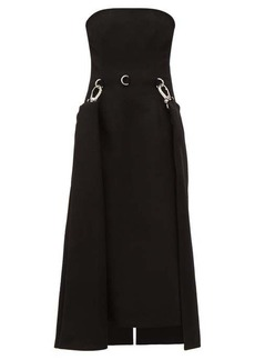 Prada Draped-skirt strapless wool dress