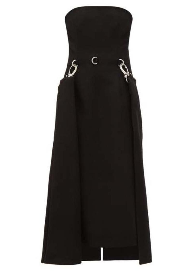 Prada Draped-skirt strapless wool dress