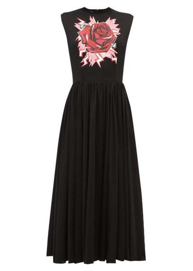 Prada Electric Rose-print cotton midi dress