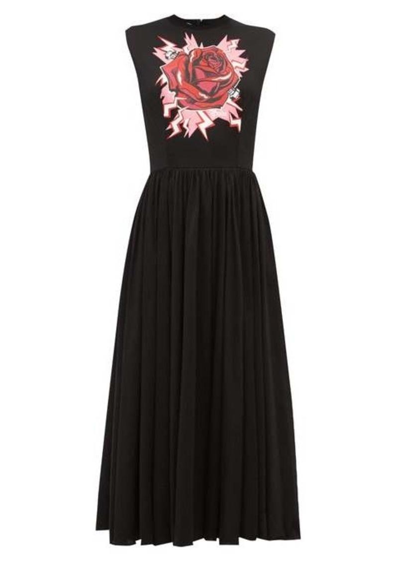 Prada Electric Rose-print cotton midi dress