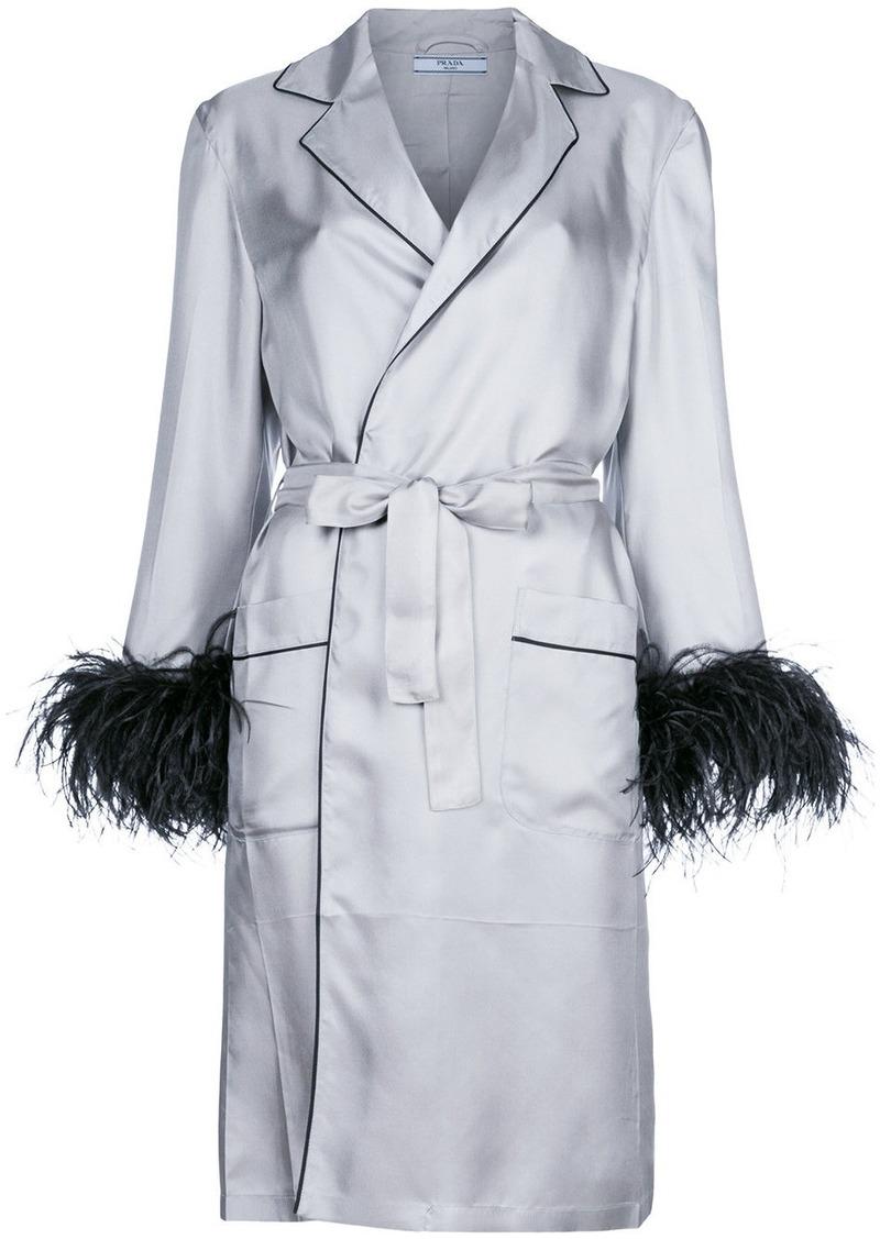 Prada embellished cuff robe coat