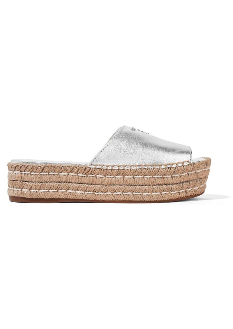 6de57b10fbb Prada Prada Embellished metallic leather espadrille sandals