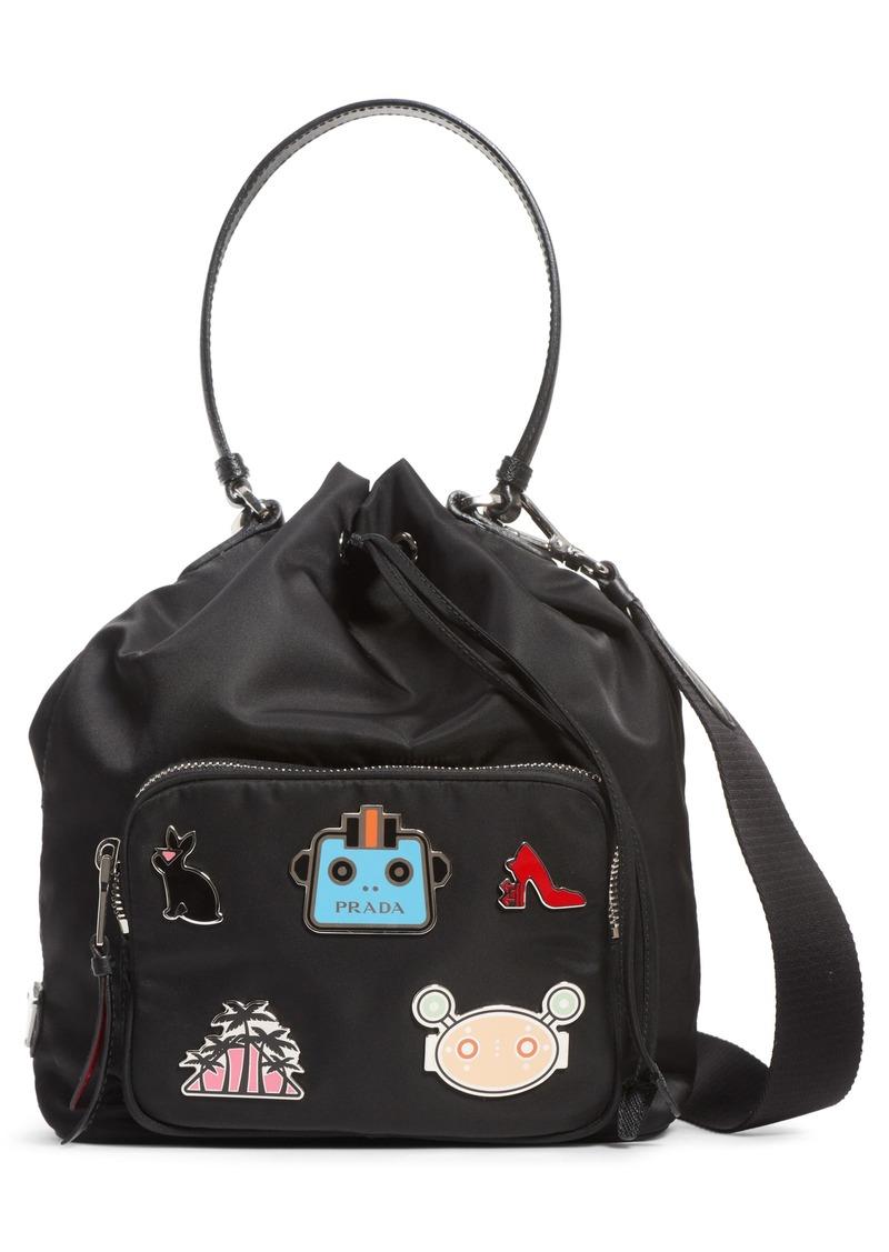 Prada Prada Embellished Nylon Bucket Bag Handbags