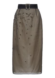 Prada Embellished Organza Midi Skirt