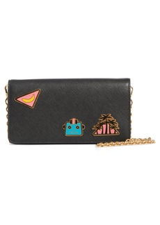 Prada Embellished Saffiano Leather Wallet on a Chain