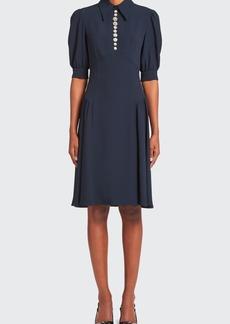 Prada Embellished Satin Sable Dress