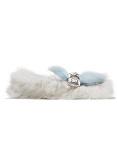 Prada Embellished Two-tone Shearling Loafers