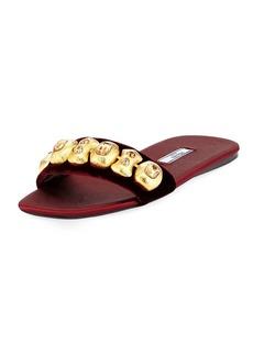 Prada Embellished Velvet Flat Slide Sandal