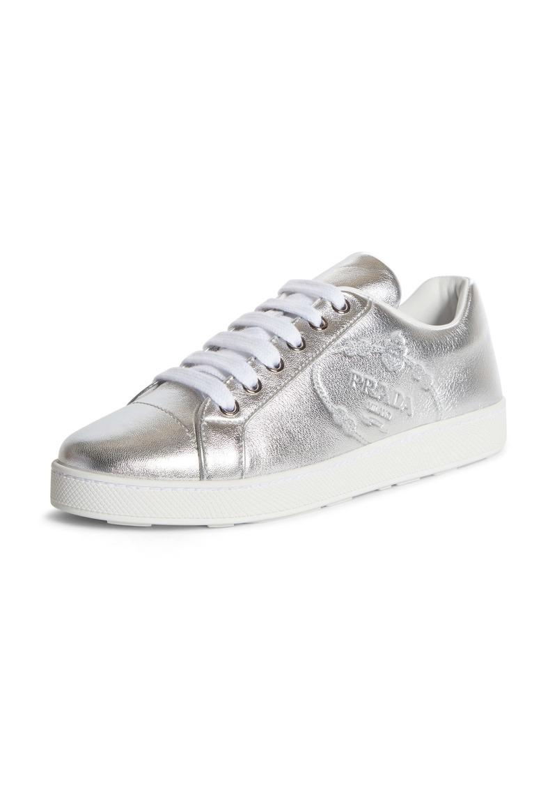 Prada Embossed Logo Metallic Sneaker (Women)