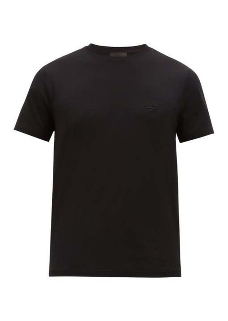 Prada Embroidered-logo cotton-blend jersey T-shirt