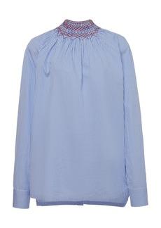 Prada Embroidered Smocked Cotton-Poplin Shirt