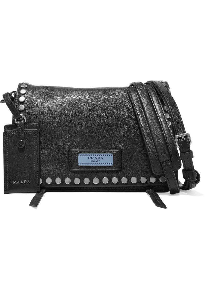 106c51b898df Prada Etiquette Small Studded Textured-leather Shoulder Bag