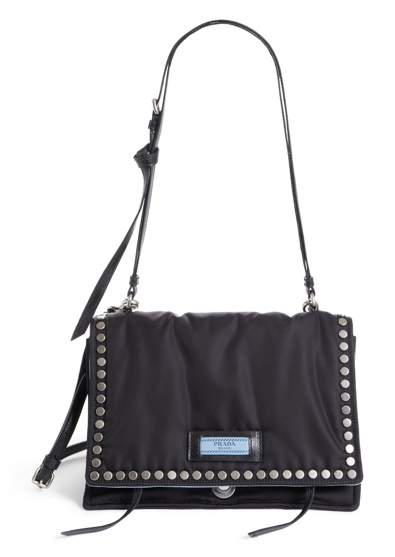 Etiquette studded tote bag - Black Prada