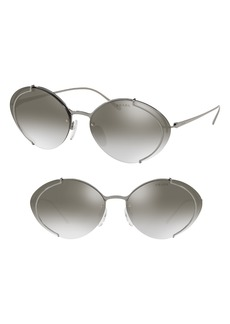 Prada Evolution 63mm Oversize Rimless Oval Sunglasses