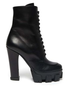 Prada Exaggerated tread-sole lace-up leather boots
