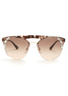 Prada Eyewear Embellished aviator metal sunglasses