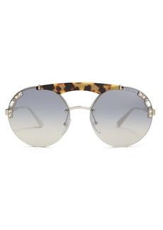 Prada Eyewear Embellished round-frame metal sunglasses