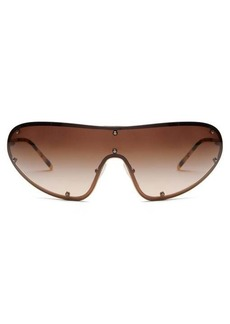 Prada Eyewear Logo-engraved shield metal sunglasses
