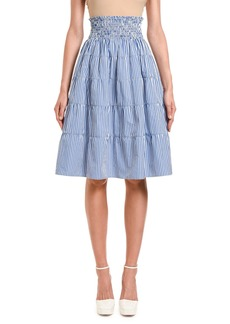 Prada Fantasia Striped Smocked-Waist Tiered Skirt