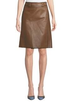 Prada Faux-Wrap A-Line Leather Skirt