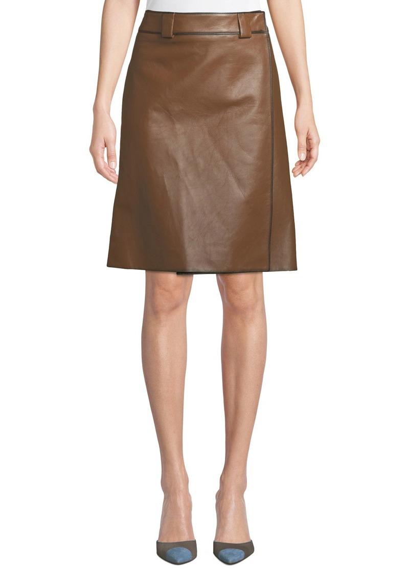 7b4b68ba78 Prada Prada Faux-Wrap A-Line Leather Skirt | Skirts