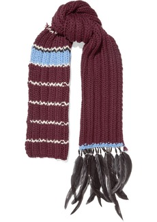 Prada Feather and bead-trimmed striped wool scarf