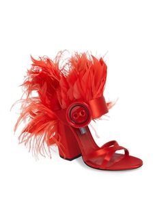 Prada Feather Block Heel Sandal (Women)