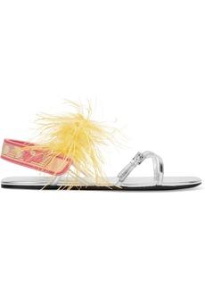 Prada Feather-embellished Metallic Leather Sandals