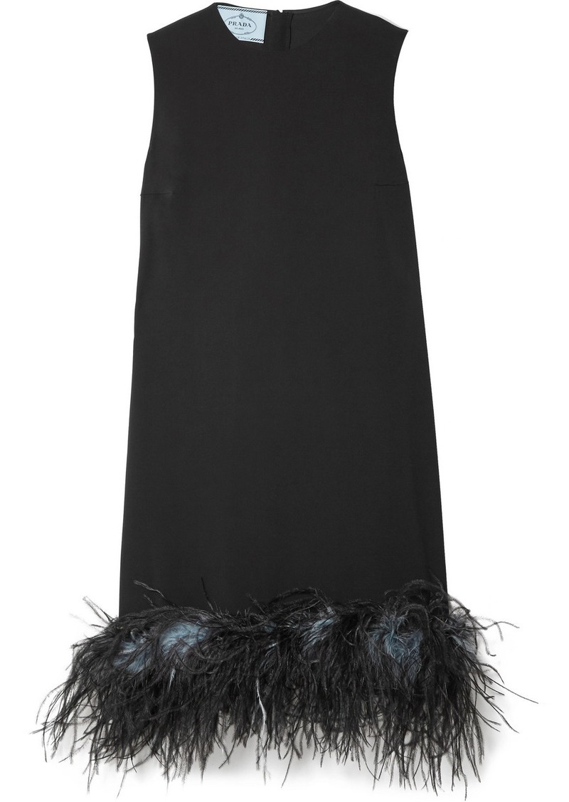 Prada Feather Trimmed Crepe De Chine Dress Dresses