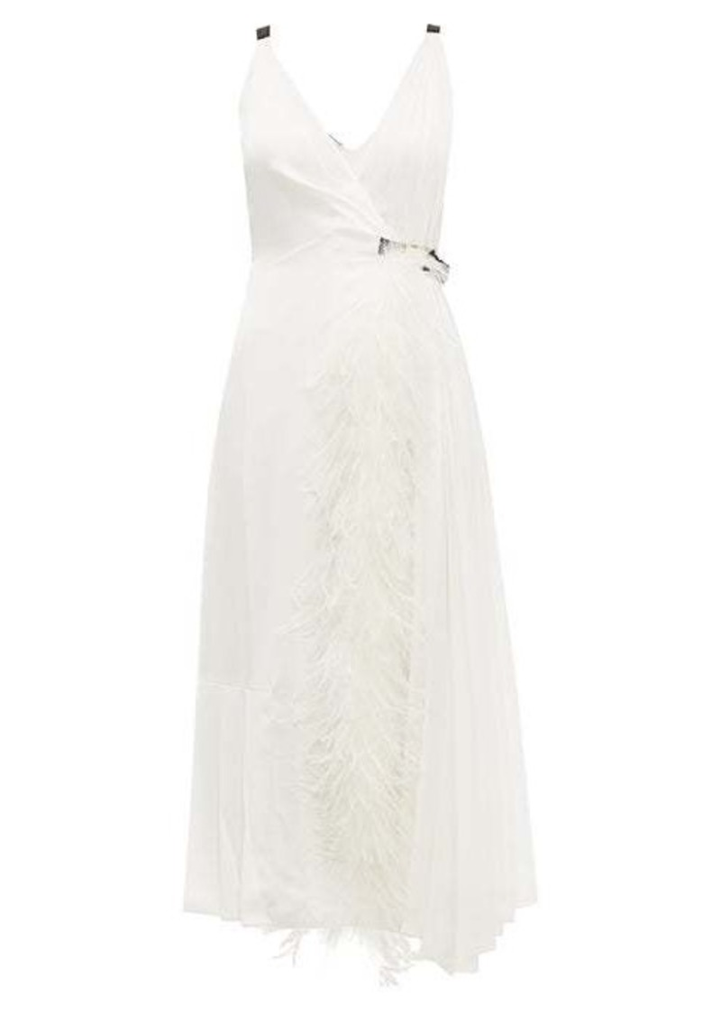 Prada Feather-trimmed pleated wrap dress