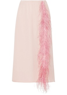 Prada Feather-trimmed Silk-georgette Midi Skirt