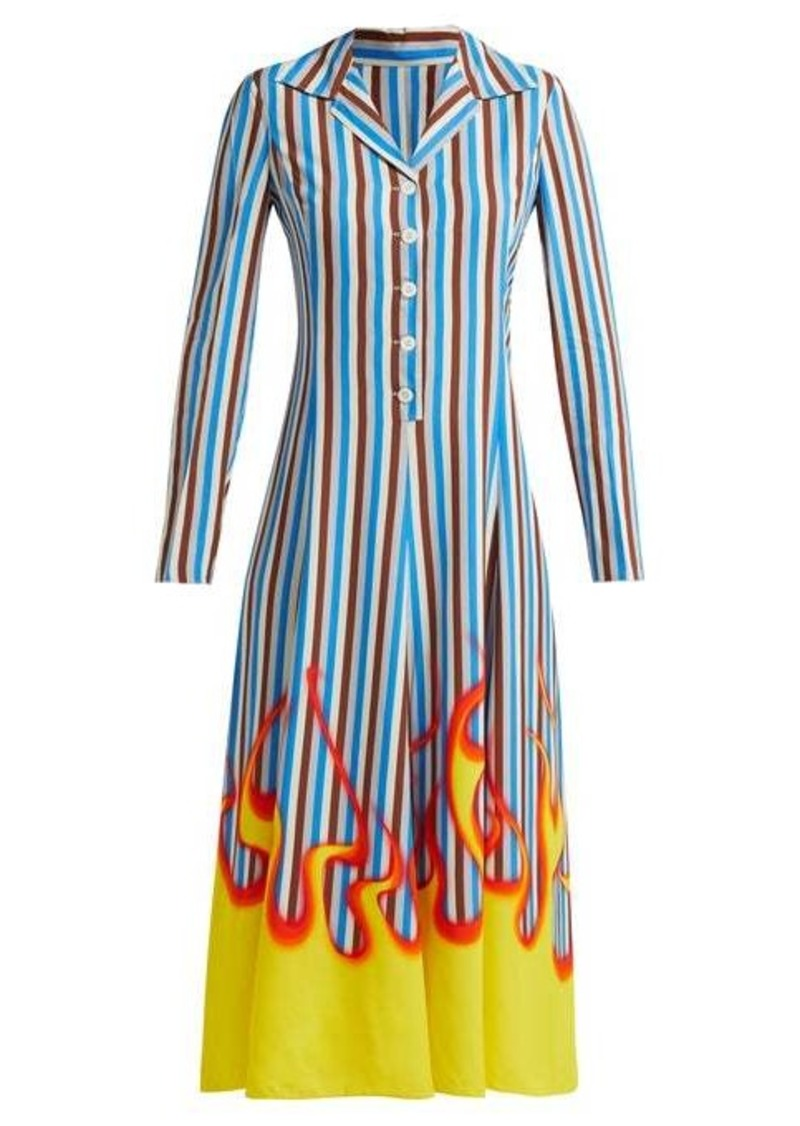 Prada Flame and stripe-print satin-twill midi dress