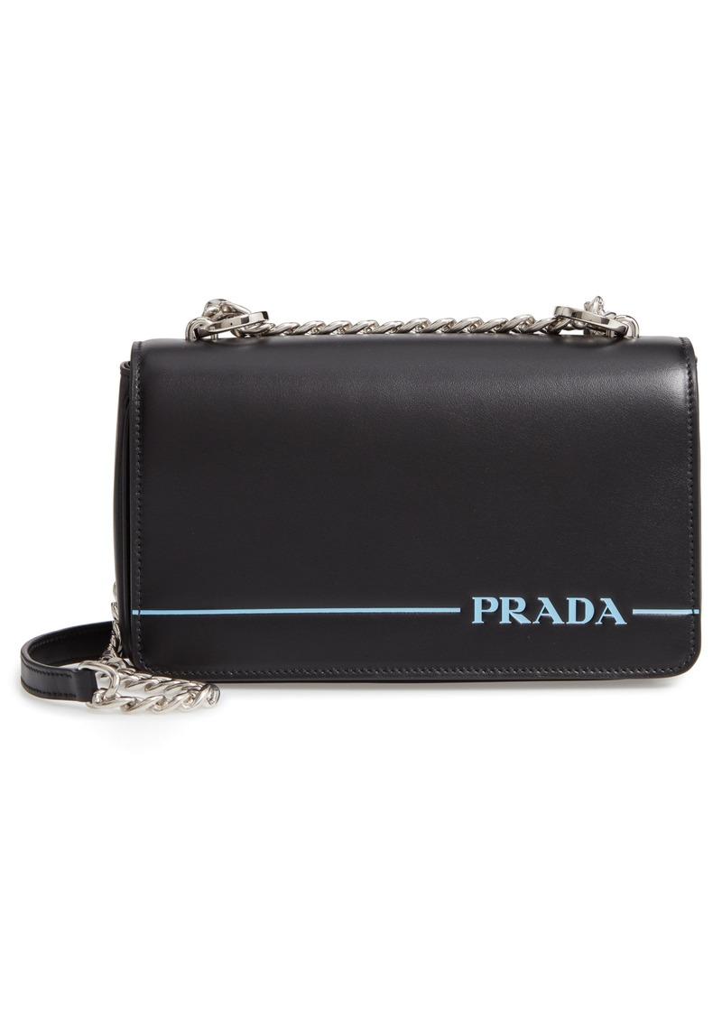 Prada Flap Leather Crossbody Bag with Stripe